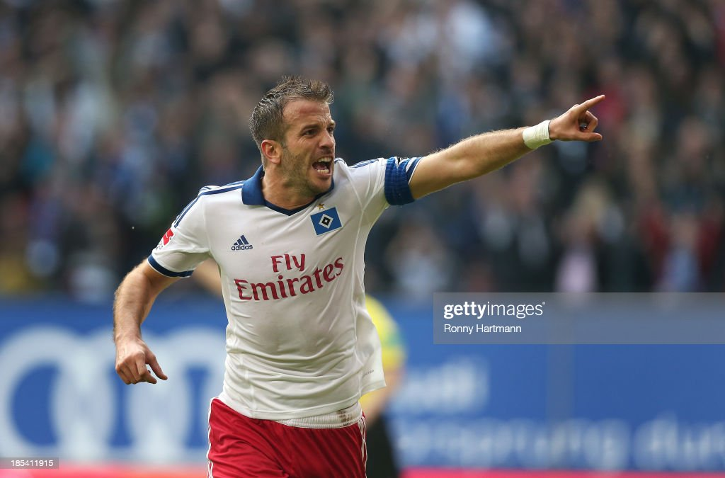 Rafael van der Vaart of Hamburg celebrates his teams third goal during the Bundesliga match between Hamburger SV and VfB Stuttgart at Imtech Arena on October 20, 2013 in Hamburg, Germany.