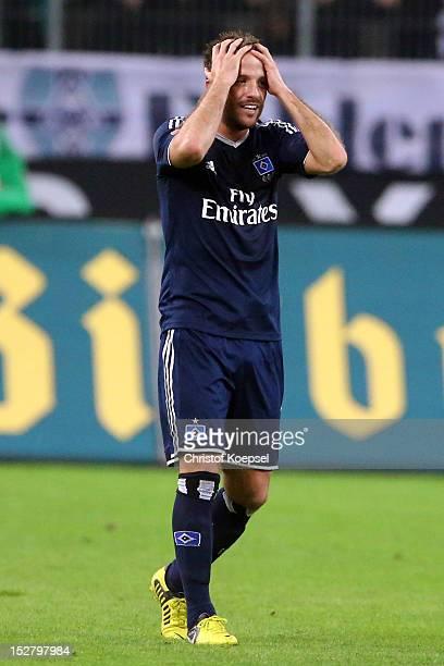 Rafael van der Vaart of Hamburg celebrates the first goal during the Bundesliga match between Borussia Moenchengladbach and Hamburger SV at Borussia...