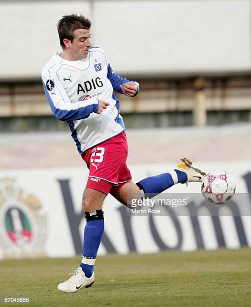 Rafael van der Vaart of Hamburg controls the ball as he makes a break forward during the UEFA Cup Round of 16 first leg match between Rapid Bucharest...