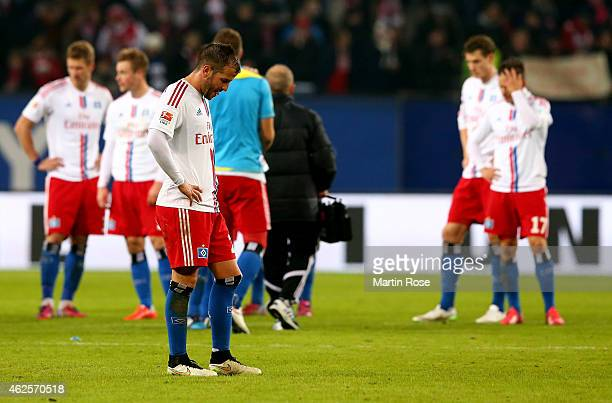 Rafael van der Vaart of Hamburg looks dejected after the Bundesliga match between Hamburger SV and 1 FC Koeln at Imtech Arena at Imtech Arena on...