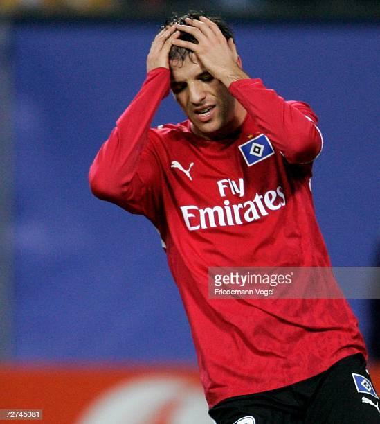 Rafael van der Vaart of Hamburg looks dejected during the UEFA Champions League Group G match between Hamburger SV and CSKA Moscow at the AOL Arena...