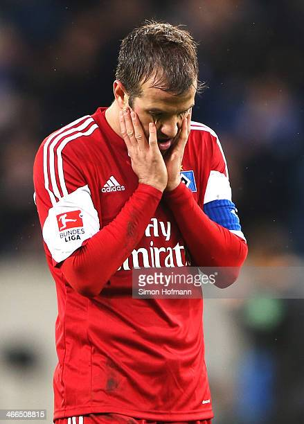 Rafael van der Vaart of Hamburg reacts after the Bundesliga match between 1899 Hoffenheim and Hamburger SV at Wirsol RheinNeckar Arena Sinsheim on...
