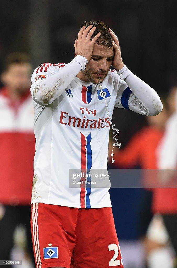 Rafael van der Vaart of Hamburg reacts at the end of the Bundesliga match between Hamburger SV and VfB Stuttgart at Imtech Arena on December 16, 2014 in Hamburg, Germany.