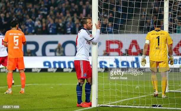 Rafael van der Vaart of Hamburg reacts during the 1 Bundesliga Playoff First Leg match between between Hamburger SV and Greuther Fuerth at Imtech...