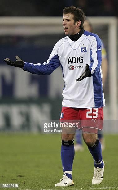 Rafael van der Vaart of Hamburg reacts during the Bundesliga match between Hamburger SV and VfB Stuttgart at the AOL Arena on February 26 2006 in...