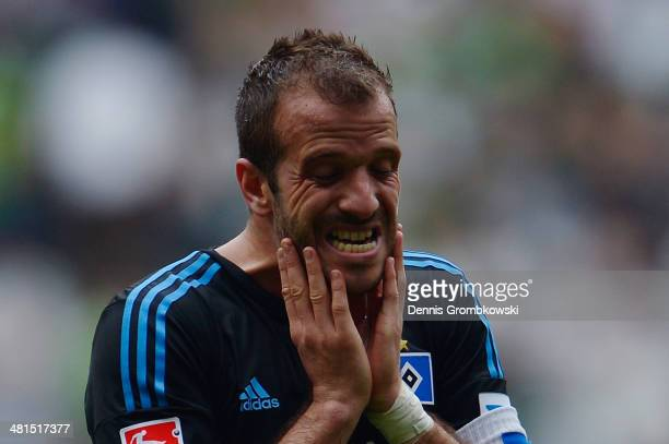 Rafael van der Vaart of Hamburger SV shows his frustration after the Bundesliga match between Borussia Moenchengladbach and Hamburger SV at...