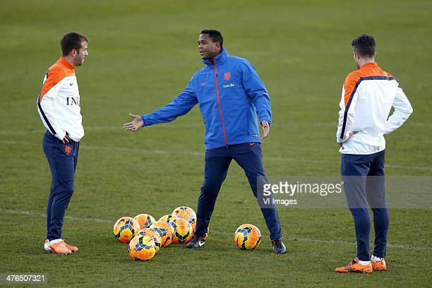 Rafael van der Vaart of Holland, assistant trainer Patrick Kluivert of Holland, Robin van Persie of Holland during the training session of The...