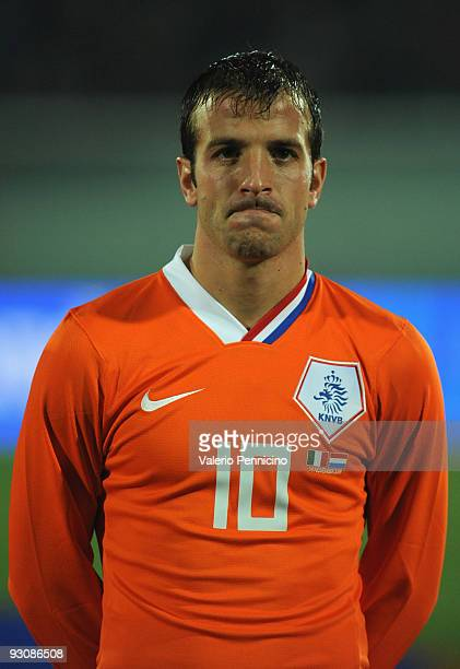 Rafael van der Vaart of Holland lines up for the anthems prior to kickoff during the international friendly match between Italy and Holland at...
