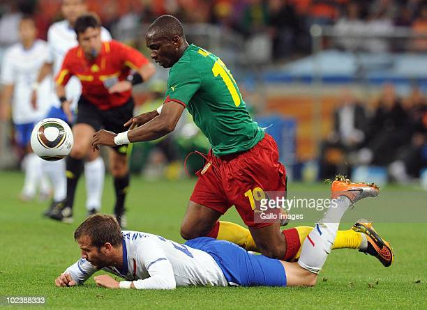 Rafael van der Vaart of Netherlands and Stephane Mbia of Cameroon during the 2010 FIFA World Cup South Africa Group E match between Cameroon and...