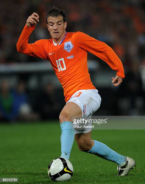 Rafael van der Vaart of Netherlands in action during the FIFA 2010 World Cup Qualifying Group 9 match between Netherlands and Iceland at the De Kuip...