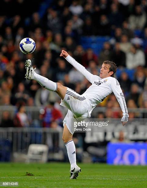 Rafael van der Vaart of Real Madrid in action during the La Liga match between Real Madrid and Malaga at the Santiago Bernabeu stadium on November 8...