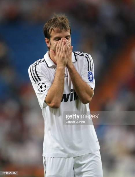 Rafael van der Vaart of Real Madrid reacts during the UEFA Champions League Group H match between Real Madrid and BATE Borisov at the Santiago...