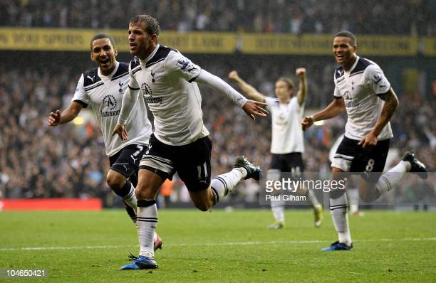 Rafael Van der Vaart of Spurs celebrates scoring their second goal during the Barclays Premier League match between Tottenham Hotspur and Aston Villa...