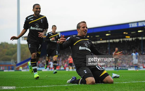 Rafael Van Der Vaart of Tottenham celebrates scoring to make it 21 with Aaron Lennon during the Barclays Premier League match between Blackburn...