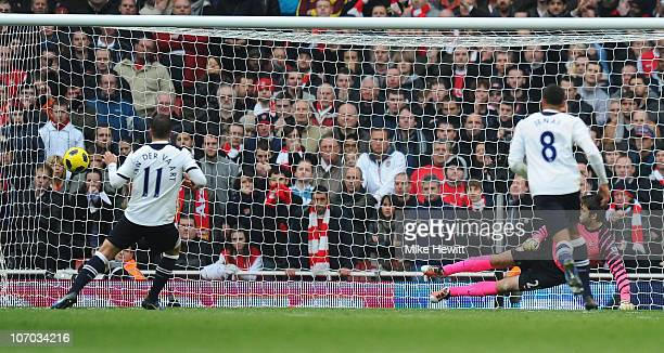 Rafael Van Der Vaart of Tottenham scores from the penalty spot during the Barclays Premier League match between Arsenal and Tottenham Hotspur at the...