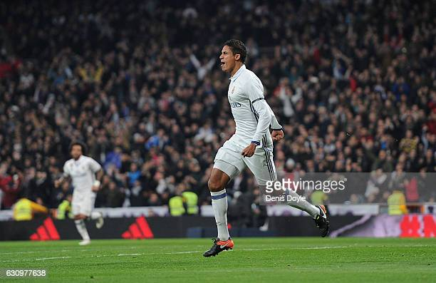 Rafael Varane of Real Madrid celebrates after scoring Real's 2nd goal during the Copa del Rey Round of 16 First Leg match between Real Madrid and...