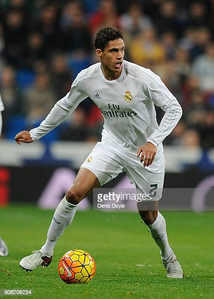 Rafael Varane of Real Madrid controls the ball during the La Liga match between Real Madrid CF and Real CD Espanyol at Estadio Santiago Bernabeu on...