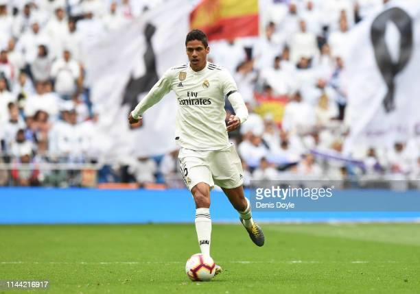 Rafael Varane of Real Madrid in action during the La Liga match between Real Madrid CF and Athletic Club at Estadio Santiago Bernabeu on April 21...