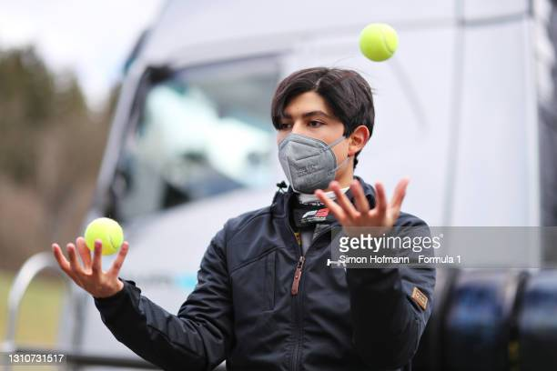Rafael Villagomez of Mexico and HWA Racelab juggles during Day Two of Formula 3 Testing at Red Bull Ring on April 04, 2021 in Spielberg, Austria.