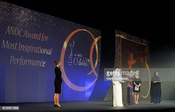 Rafaela Lopes Silva from the Brazilian Olympic Committee accepts the award for the Most Inspirational Performance during The ANOC Awards 2016 at the...