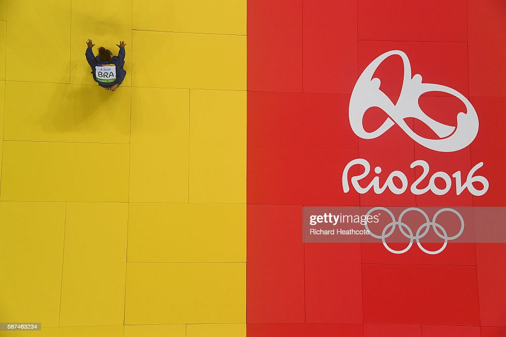 Rafaela Silva of Brazil celebrates after defeating Sumiya Dorjsuren of Mongolia in the Women's -57 kg Final - Gold Medal Contest on Day 3 of the Rio 2016 Olympic Games at Carioca Arena 2 on August 8, 2016 in Rio de Janeiro, Brazil.