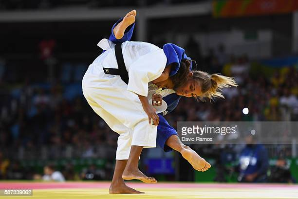 Rafaela Silva of Brazil competes against Hedvig Karakas of Hungary in the Women's 57 kg Judo quarterfinal on Day 3 of the Rio 2016 Olympic Games at...