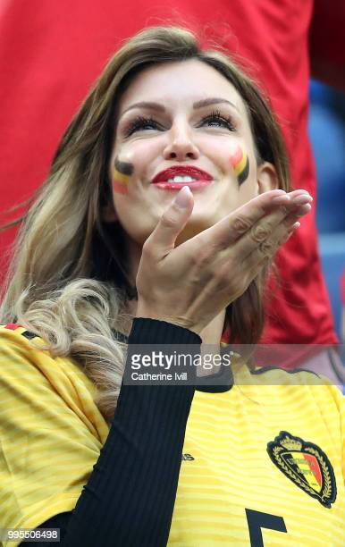Rafaella Szabo the wife of Axel Witsel of Belgium attend the 2018 FIFA World Cup Russia Semi Final match between Belgium and France at Saint...
