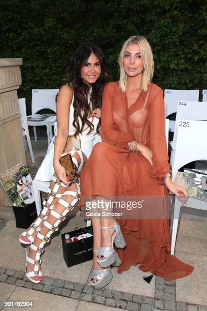 Rafaella White wife of Jack White and Annika Gassner attend the Marcel Ostertag show during the Berlin Fashion Week Spring/Summer 2019 at Westin...