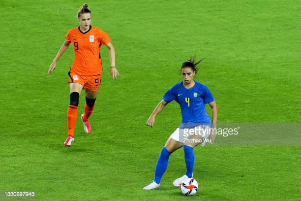Rafaelle of Brazil controls the ball during the Women's First Round Group F match on day one of the Tokyo 2020 Olympic Games at Miyagi Stadium on...