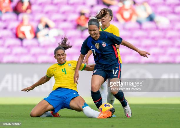 Rafaelle of Brazil defends Sophia Smith of the USWNT during a game between Brazil and USWNT at Exploria Stadium on February 21, 2021 in Orlando,...