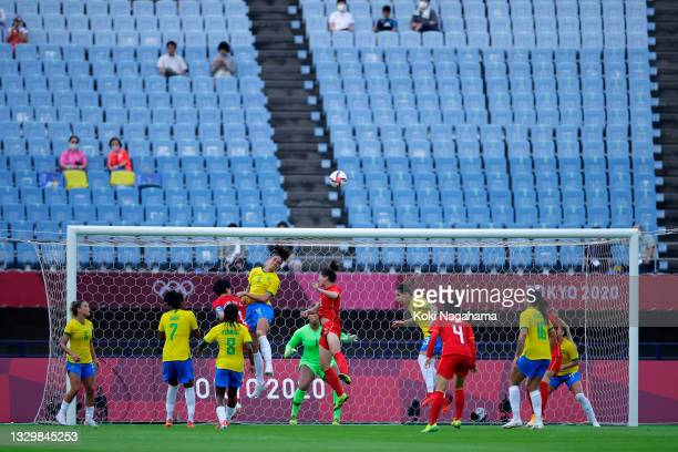 Rafaelle of Team Brazil heads clear during the Women's First Round Group F match between China and Brazil during the Tokyo 2020 Olympic Games at...