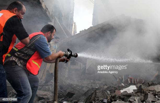 Rafah in Gaza hit by a Israeli air attack in which 5 reported to have been killed and 15 wounded on July 11 2014