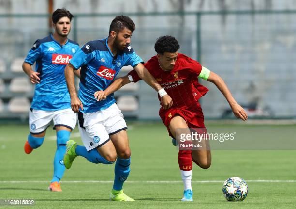Rafail Mamas of Napoli and Curtis Jones of Liverpool during the UEFA Youth League Group E match SSC Napoli v Liverpool Fc at the Ianniello Stadium in...