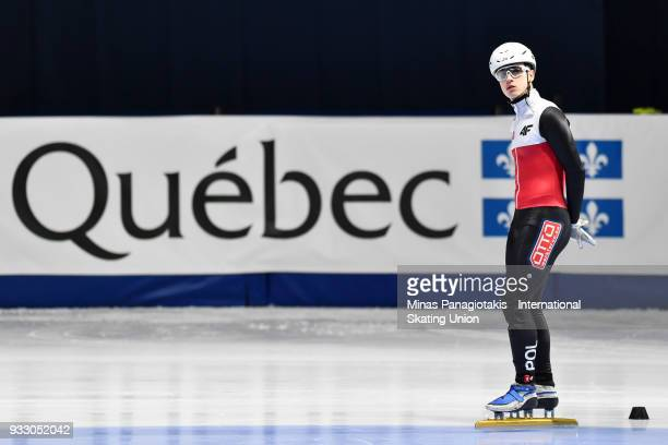 Rafal Anikej of Poland looks on prior to competing in the men's 500 meter ranking finals during the World Short Track Speed Skating Championships at...