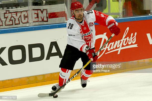Rafal Dutka of Comarch Cracovia skates during the Champions Hockey League match between Sparta Prague and Comarch Cracovia at o2 Arena Prague on...