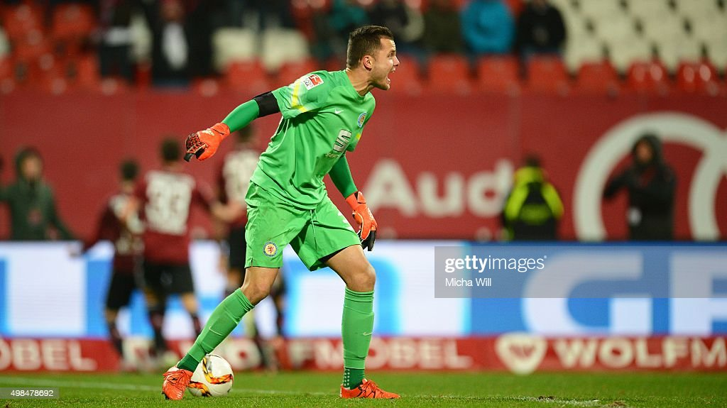 Rafal Gikiewicz, goalkeeper of Braunschweig is angry after Guido Burgstaller of Nuernberg scored his teams second goal during the Second Bundesliga match between 1. FC Nuernberg and Eintracht Braunschweig at Grundig-Stadion on November 23, 2015 in Nuremberg, Germany.
