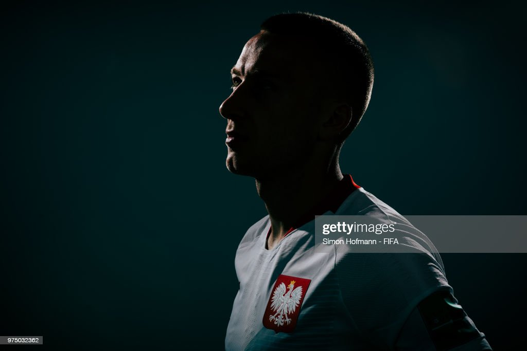 Rafal Kurzawa of Poland poses during the official FIFA World Cup 2018 portrait session on June 14, 2018 in Sochi, Russia.
