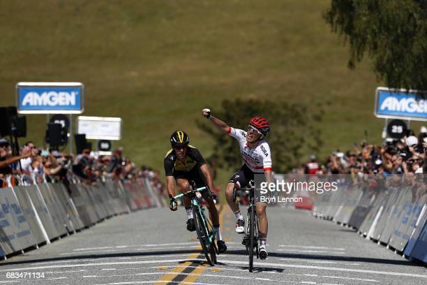Rafal Majka of Poland and Bora-Hansgrohe outsprints George Bennett of New Zealand and LottoNL-Jumbo to win stage two of the AMGEN Tour of California...