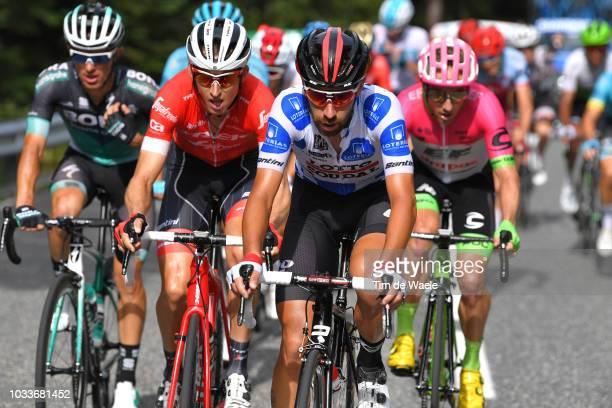 Rafal Majka of Poland and Team Bora Hansgrohe / Bauke Mollema of The Netherlands and Team Trek Segafredo / Thomas De Gendt of Belgium and Team Lotto...