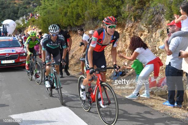 Rafal Majka of Poland and Team Bora - Hansgrohe / Dylan Teuns of Belgium and BMC Racing Team / Oscar Rodriguez of Spain and Team Euskadi - Murias /...