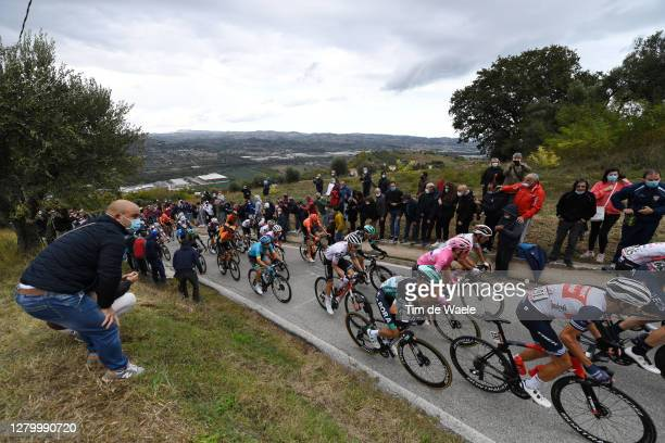 Rafal Majka of Poland and Team Bora - Hansgrohe / Joao Almeida of Portugal and Team Deceuninck - Quick-Step Pink Leader Jersey / Diego Ulissi of...