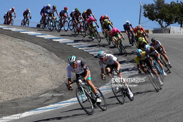 Rafal Majka of Poland and Team Bora - Hansgrohe leads riders down the corkscrew at Laguna Seca raceway during stage three of the 13th Amgen Tour of...