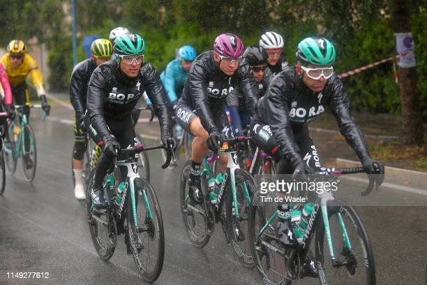 Rafal Majka of Poland and Team Bora - Hansgrohe / Pascal Ackermann of Germany and Team Bora - Hansgrohe Purple Points Jersey / Cesare Benedetti of...