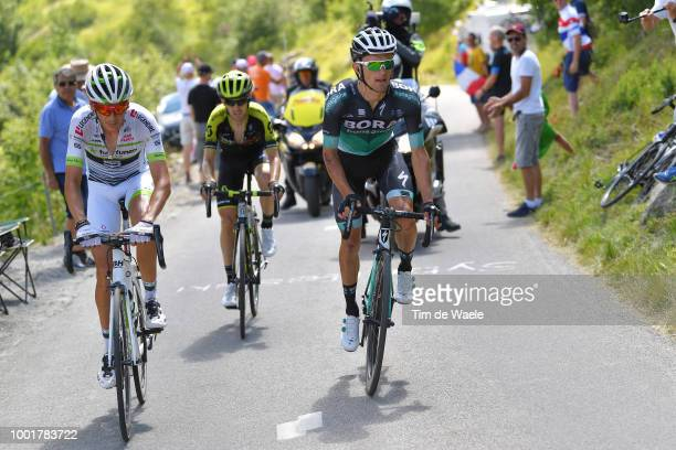 Rafal Majka of Poland and Team Bora Hansgrohe / Warren Barguil of France and Team Fortuneo Samsic / Mikel Nieve of Spain and Team MitcheltonScott /...