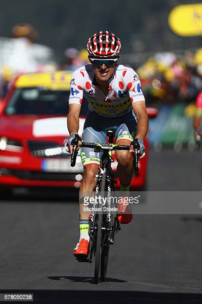 Rafal Majka of Poland and Tinkoff approaches the finishing line during the 184.5km stage seventeen of Le Tour de France from Berne to Finhaut-Emosson...