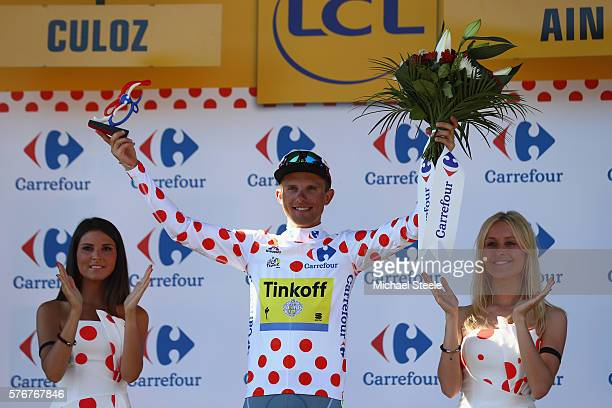 Rafal Majka of Poland and Tinkoff celebrates claiming the polka dot King of the Mountains jersey following the 160km stage15 of Le Tour de France...