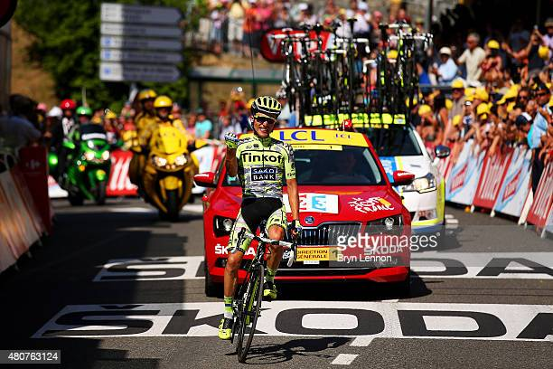 Rafal Majka of Poland and Tinkoff-Saxo crosses the finish line to win stage eleven of the 2015 Tour de France, a 188 km stage between Pau and...