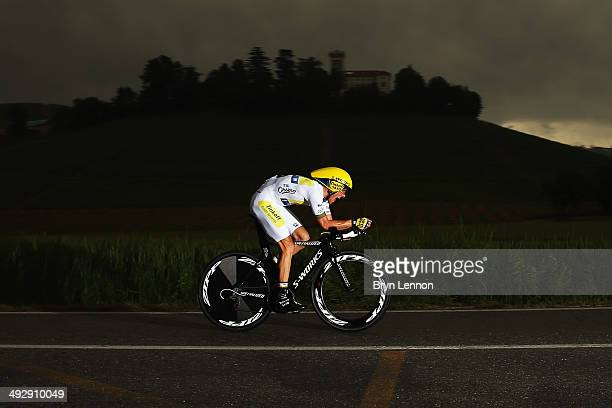 Rafal Majka of Poland and TinkoffSaxo in action during the twelfth stage of the 2014 Giro d'Italia a 42km Individual Time Trial stage between...