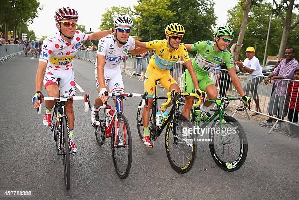Rafal Majka of Poland and Tinkoff-Saxo King, Thibaut Pinot of France and FDJ.fr, Vincenzo Nibali of Italy and Astana Pro Team and Peter Sagan of...