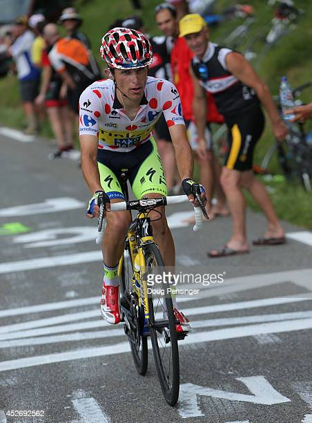 Rafal Majka of Poland and TinkoffSaxo makes the climb to the finish as he defended he king of the mountains polka dot jersey in the eighteenth stage...